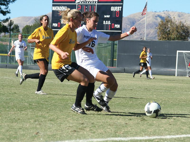 Melissa Fernandez (16) and the Matadors win against Long Beach State, 1-0, Sunday afternoon. CSUN clinches the second seed in the Big West tournament and earn a home match against UC Santa Barbara on Thursday. Photo Credit: Charlie Landon / Staff Photographer