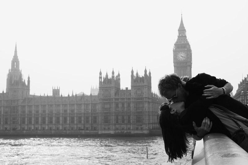 Psychology major Danny Matson's award-winning photo depicts him, top, kissing his girlfriend Laura Vallet, 22, on the Westminster Bridge in London. Photo courtesy of Danny Matson