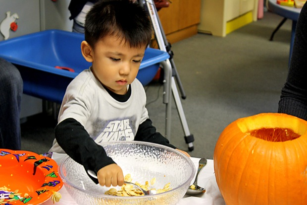 Henry Gonzalez, 2, examines the inside of a pumpkin during an activity at the CSUNFlowers program. Photo Credit: Katie Donahue / Staff Reporter