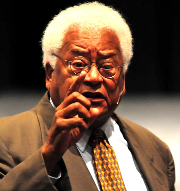 The Rev. James Lawson discusses non-violent activism with his audience during his third lecture on campus this semester, which took place Monday at the Plaza del Sol Performance Hall. Photo Credit: Britten Fay / Staff Reporter