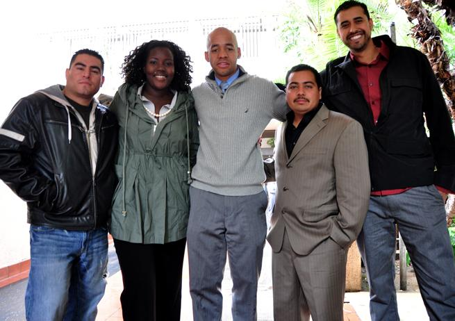 The students arrested during the March 4 demonstrations walk out of San Fernando Valley courthouse Wednesday morning. (Left to right) Anthony Garcia, Jonnae Thompson, Justin Marks, Jose Gomez and Angel Guzman. Photo Credit: Armando Ruiz / Senior Photographer