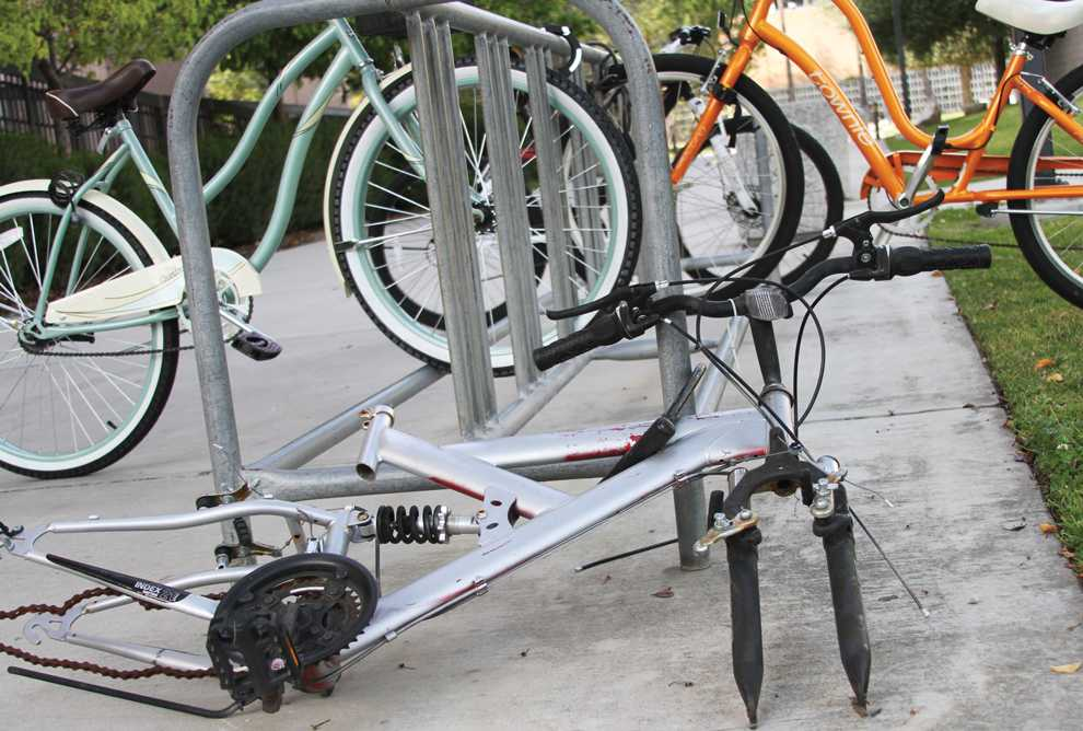 Many bicycles can be seen locked on the bicycle racks near the Oviatt Library. Some of the most recent thefts occurred near the Oviatt Library, according to a 'Campus Crime Alert' released by police services in late February. Photo Credit: Tessie Navarro / Staff Photographer