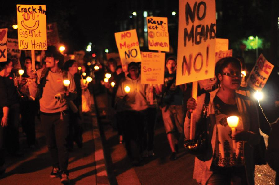 The university organized Take Back the Night on Thursday to focus attention on abuse against women and highlight resources available on campus for the victims. Photo Credit: Armando Ruiz / Senior Photographer