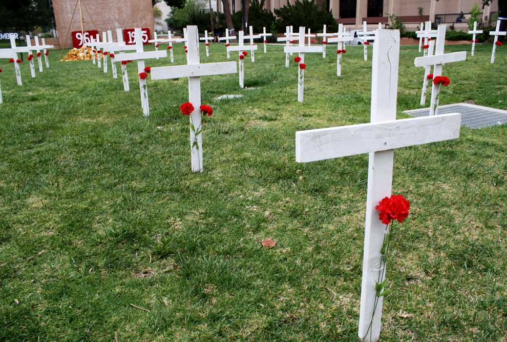 The Armenian Student Association is raising awareness of the Armenian genocide by displaying 115 crosses on the lawn behind Oviatt Library. Each cross represents 13,000 people who died in the genocide in 1915. Photo Credit: Mariela Molina / Staff Photographer