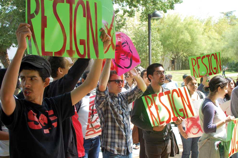 Students rally outside the Valley Performance Arts Center during the CSU: The Next Fifty Years conference. Chancellor Charles Reed was the keynote speaker at the conference. Photo Credit: Herbert Lovato / Assistant Photo Editor