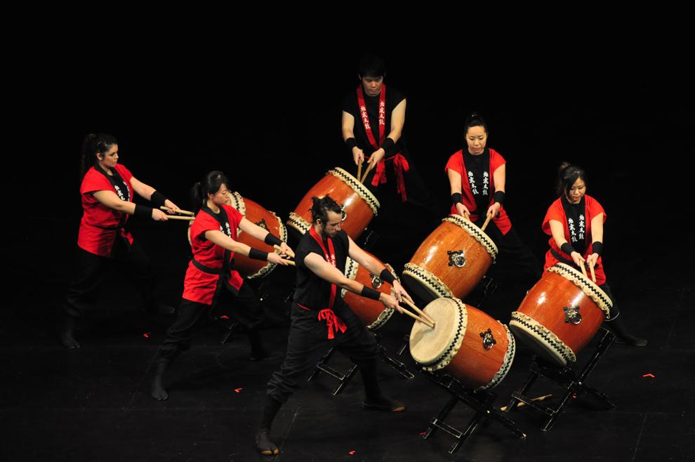 Jishin Taiko, a traditional Japanese drumming group, played early this year at the Valley Performing Arts Center.  The drummers have their annual spring concert at the Plaza del Sol Performance Hall this Sunday. Photo Credit: Armando Ruiz / Senior Photographer