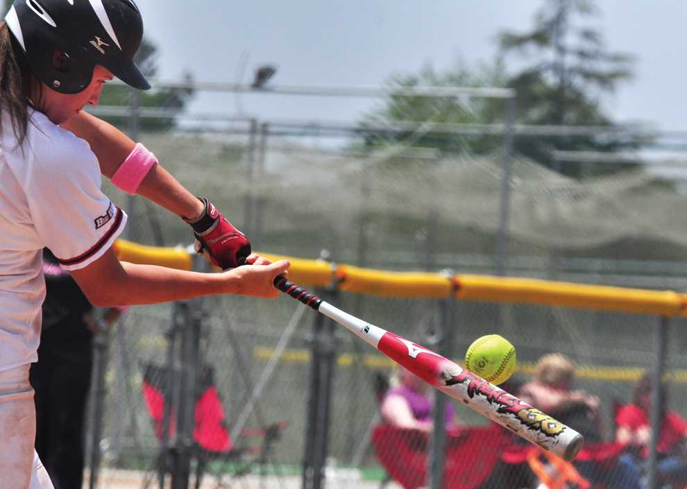 BANG: Catcher Mikayla Thielges hits a two-run single to center field in the bottom of the sixth inning in Saturdays' first game of the doubleheader, which CSUN won 10-5. Thielges had five hits and four runs batted in for the day. Photo Credit: Misael Virgen / Photo Editor