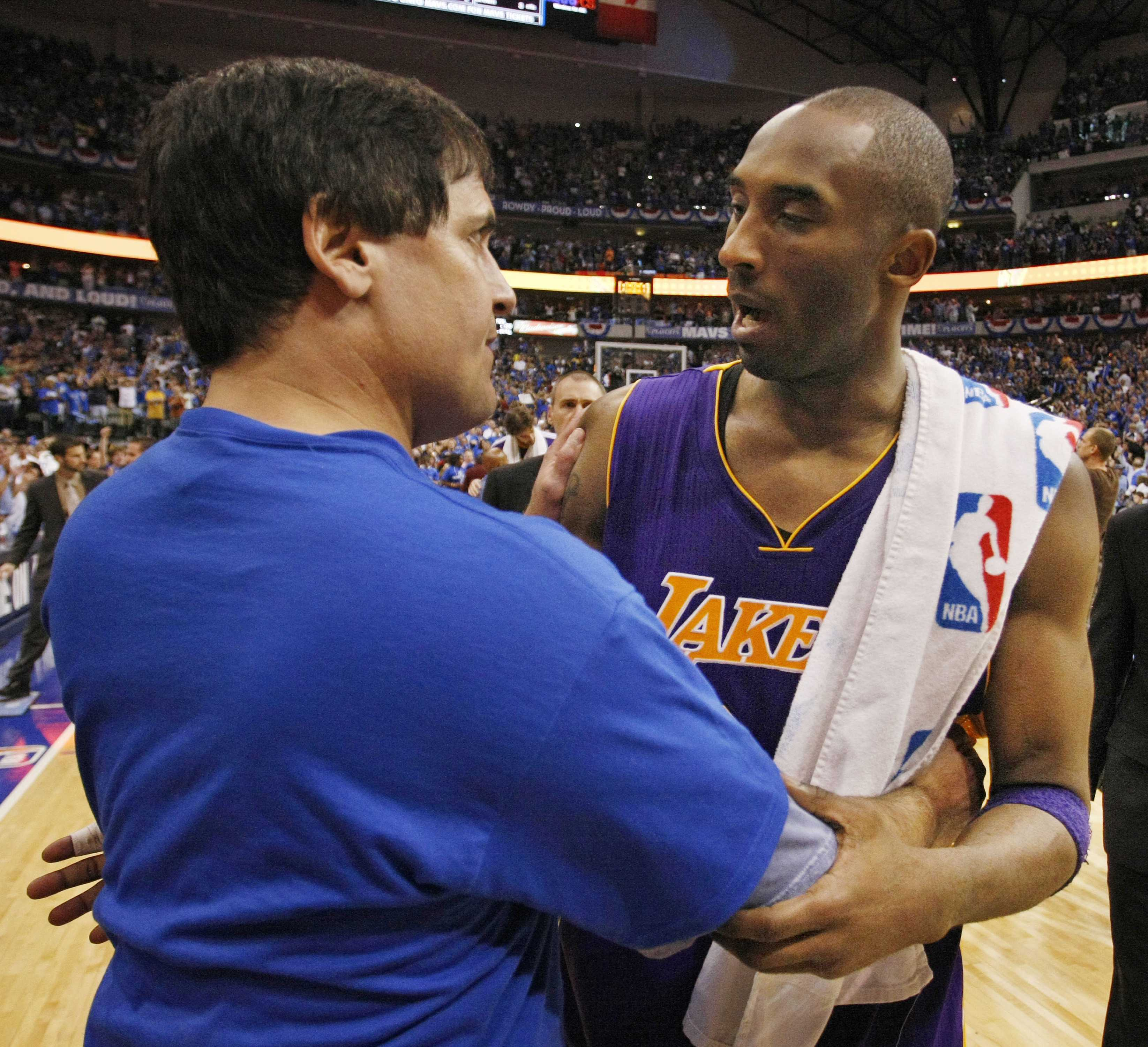 Dallas Mavericks owner Mark Cuban meets Los Angeles Lakers shooting guard Kobe Bryant (24) at the end of Game 4 of the NBA Western Conference Playoffs at the American Airlines Center, Sunday, May 8, 2011 in Dallas, Texas. The Dallas Mavericks defeated the Los Angeles Lakers, 122-86. (Paul Moseley/Fort Worth Star-Telegram/MCT)