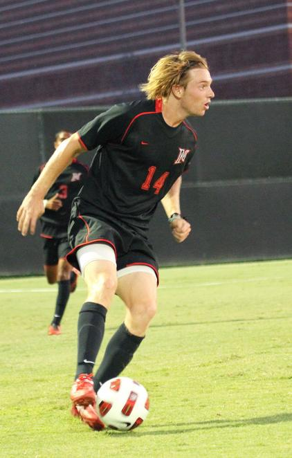 Chris+Smith+from+CSUN+scored+one+of+two+goals+at+the+mens+soccer+game+Friday%2C+against+the+Canisius+Griffins.+Photo+Credit%3A+Simon+Gambaryan+%2F+Contributor