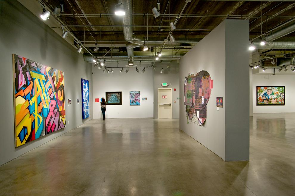 Currently on display at the Pasadena Museum of California Art is the 'Street Cred' exhibition. Some artists featured in the exhibit include RISK, REVOK, Michael Alvarez and Nicnak. Image courtesy of the PMCA, ©Don Millici.