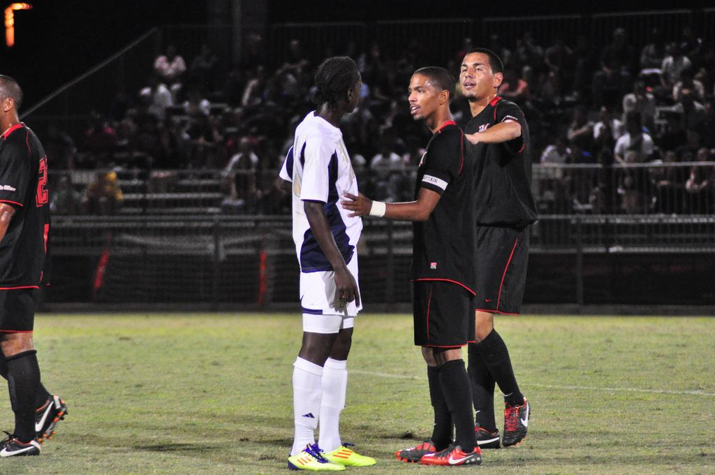 CSUN men's soccer loses 2-1 in overtime against No. 2 Akron in the Cal State Northridge Labor Day Classic on Saturday night. Photo Credit: Monique Muniz/ Daily Sundial
