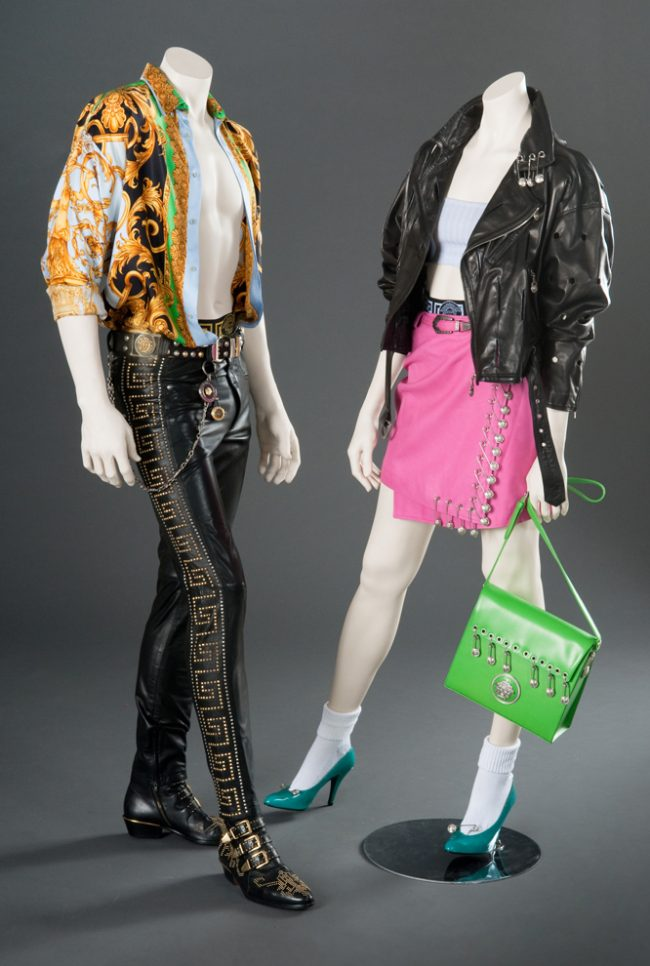 By designer Gianni Versace, Men's and Women's ensembles, c. 1994  Courtesy of FIDM Museum and Library.