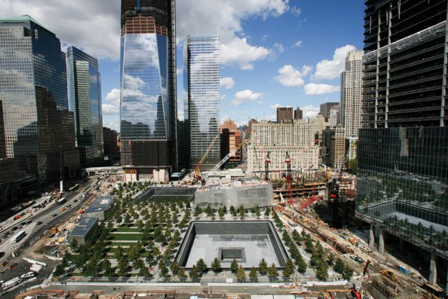 Seen from the south side is the World Trade Center, with the 9/11 Memorial situated around the footprints of the original towers. Photo Credit: Courtesy of MCT