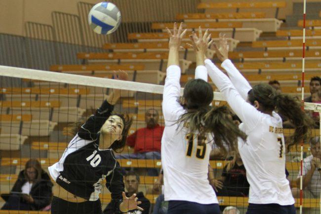 Mahina Haina (10) records a team-high 13 kills in CSUN's win over UC Riverside in Big West play Saturday night. Photo Credit: Tessie Navarro/ Visual Editor.