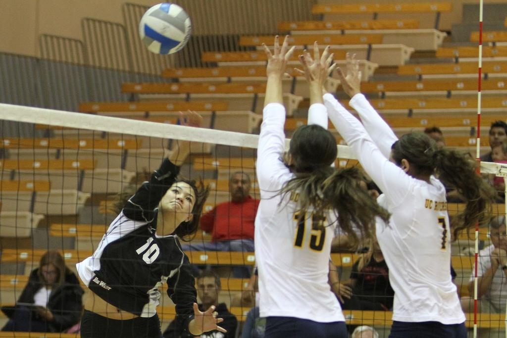 Mahina Haina (10) records a team-high 13 kills in CSUN's win over UC Riverside in Big West play Saturday night. Photo Credit: Tessie Navarro/ Visual Editor.