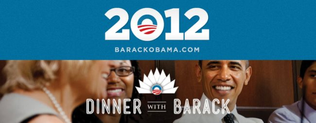 President Obama campaigns with contest to win personal dinner