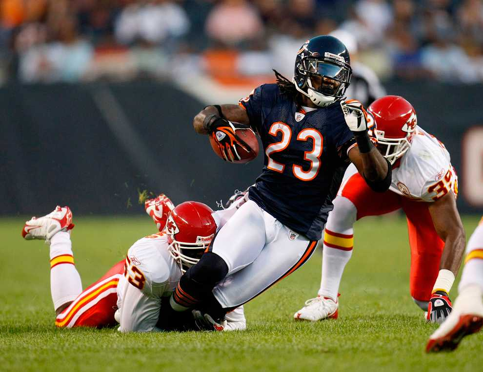 With the new kickoff rule in place, return specialist Devin Hester (23) will see his production decline. Hester is the NFL's all-time leader in kickoff/punt return touchdowns.