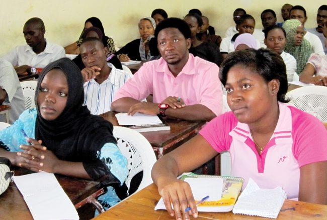 Students of the Dar es Salaam School of Journalism in Tanzania listen to Dr. Mitchell speak. Photo Credit: Courtesy of Robert Quiroz