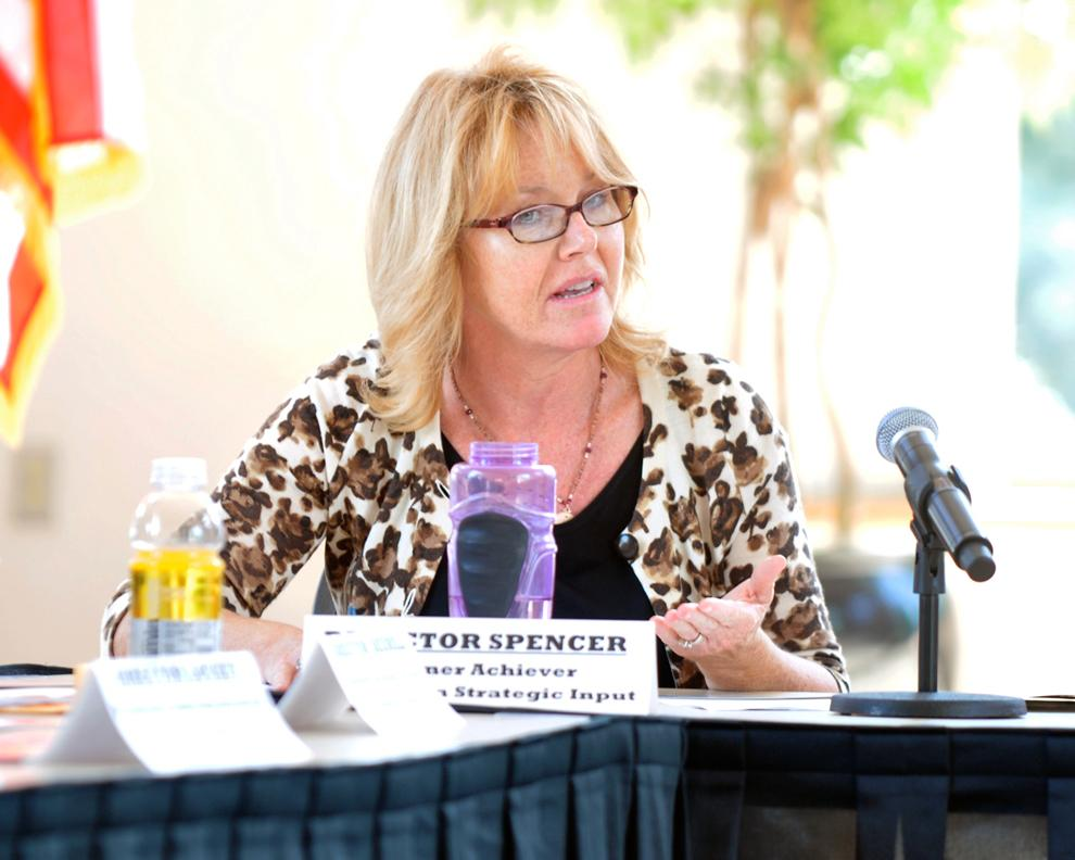 Director Sally Spencer, faculty representative, discusses the benefits from implementing gender neutral restrooms during USU board meeting Monday. Photo Credit: Katie Grayot / Daily Sundial