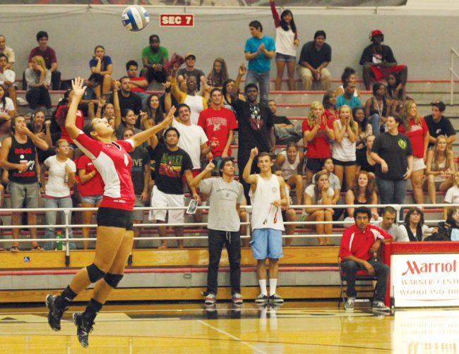Matador fans cheer on CSUN's No. 4 Mariah Counts during her serve against the BYU Cougars on Saturday. Simon Gambaryan / Daily Sundial