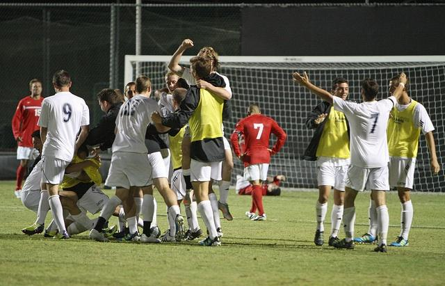 UC Davis celebrates after beating CSUN 2-1 in overtime Saturday night at Matador Soccer Field. Photo Credit: Mariela Molina/ Daily Sundial