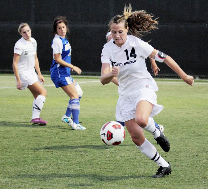 Sophomore defender Chloe McDaniel (14) and the Matadors beat UC Santa Barbara for the first time since 2007 on Sunday. CSUN won 1-0. Photo Credit: Simon Gambaryan / Daily Sundial