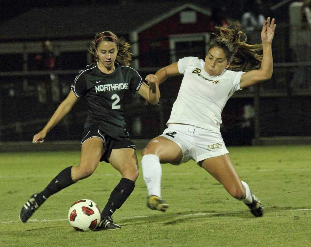 Heidi Farran (right) scored the game-winning goal to give CSUN the win over Long Beach State Friday night. Photo Credit: Simon Gambaryan /Daily Sundial