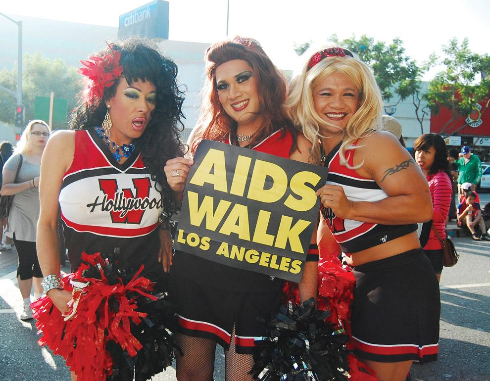 Ida Slapia, Kay Chingona, Miso Horny of the West Hollywood Cheerleaders come to show their support at the 27th annual AIDS Walk Los Angeles event.