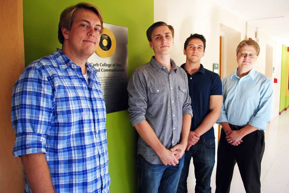 (Left to right) Aaron Class, director of marketing, 21, Ryan Aicklen, co-producer, 25, Tyler Edmonston, co-producer, 21, and Professor Carey Christensen are part of  the CSUN music industry Five of Five Music Entertainment program.