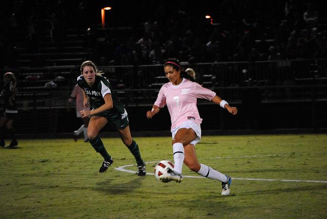 Midfielder Alexis Barbara (7) stops the ball during CSUN's loss against Cal Poly on Friday at Matadors Field. Photo Credit: Andres Aguila/ Daily Sundial