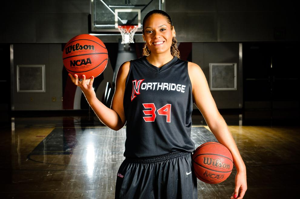 CSUN+star+center+Jasmine+Erving+averaged+14.9+points+and+6.9+rebounds+last+season.+Photo+Credit%3A+Braden+Villanueva%2F+CSUN+Media+Athletics