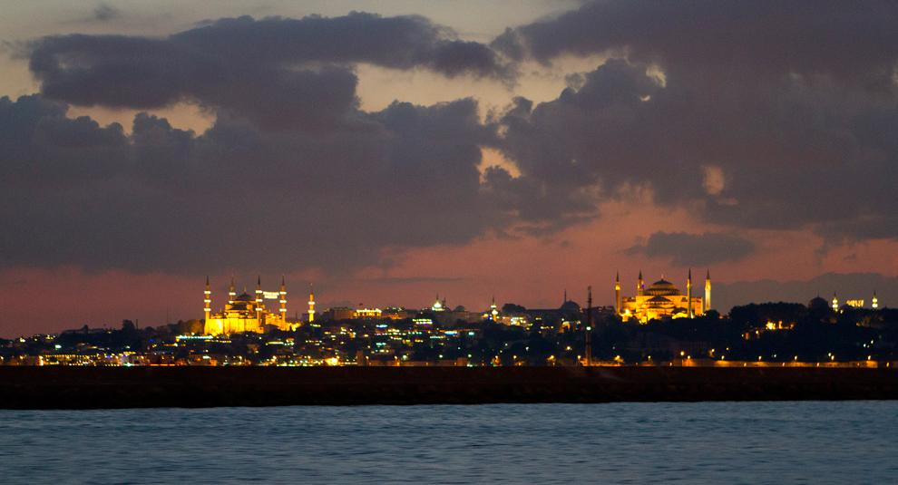 View of Sultanahmet, Istanbul's historical district, from a ferry crossing the Boshphorus. Istanbul is the only city in the world that resides in two continents - Asia and Europe. Photo Credit: Kat Russell / Daily Sundial