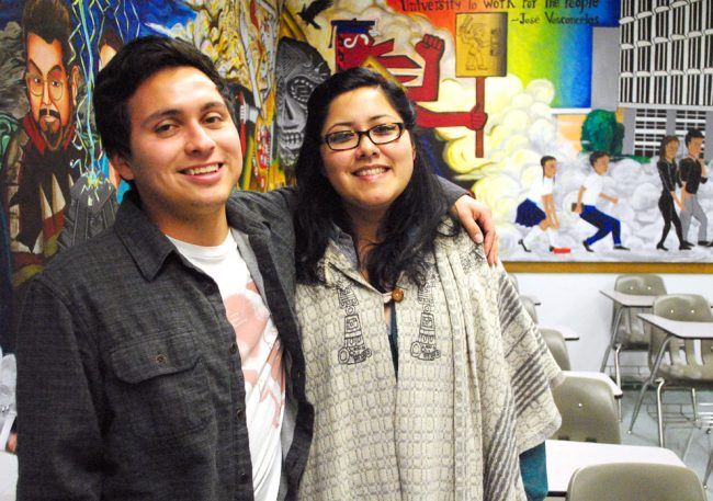 Daniel Esparza (left) and Martha Martinez (right) are two of 25 CSUN students in the McNair Scholarship program.  The program helps minority, first-generation college students apply to graduate and doctorate programs. Photo Credit: Andres Aguila / Daily Sundial