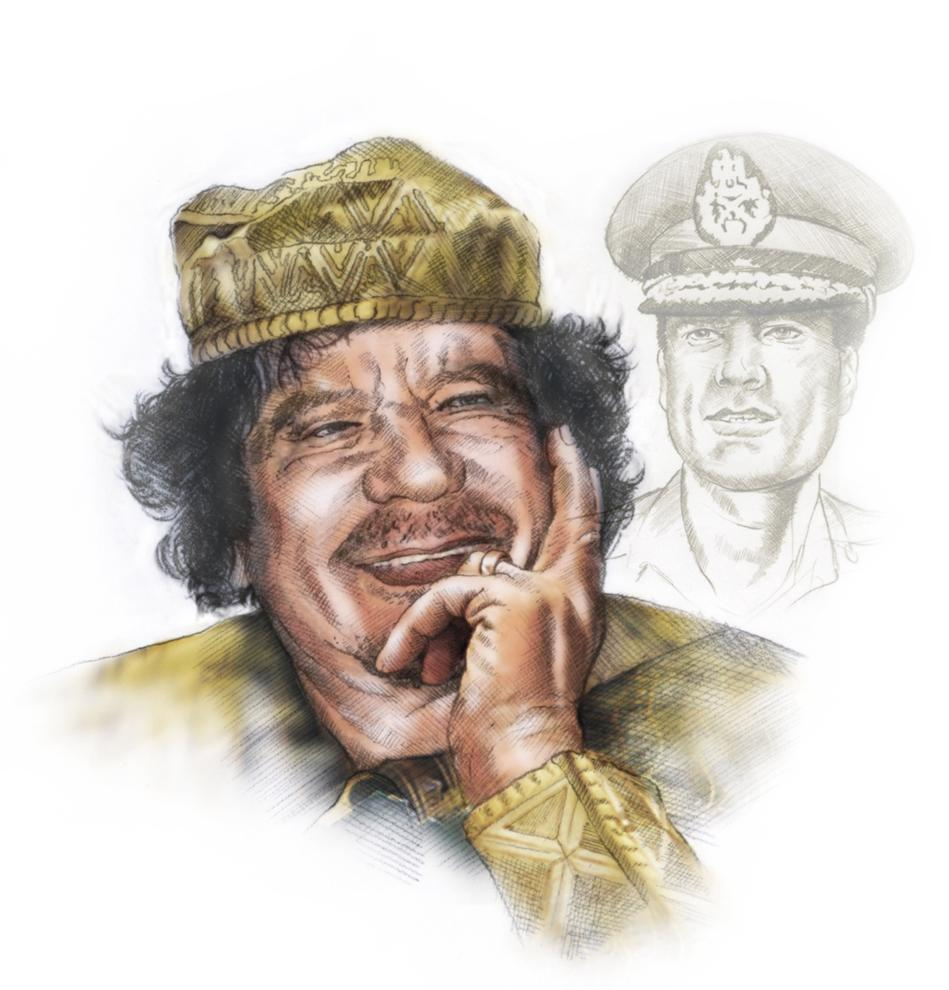 Lee Hulteng portrait of Libyan leader Moammar Gadhafi. Courtesy of MCT