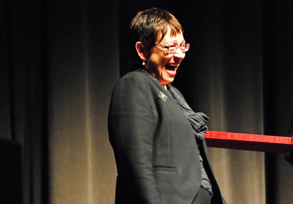 CSUN president Jolene Koester laughs while she receives a gift during her farewell tribute on Nov. 9,  2011. Photo Credit: Andres Aguila / Daily Sundial