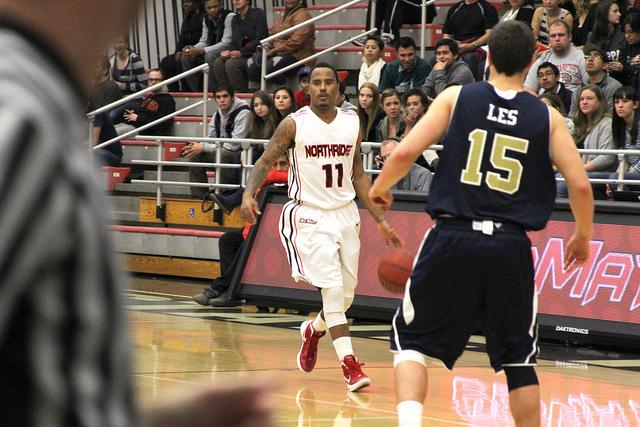 Vinnie McGhee (11) scored a game-high 16 points in CSUN's victory over UC Davis Saturday night at the Matadome. Photo Credit: Mariela Molina / Photo Editor