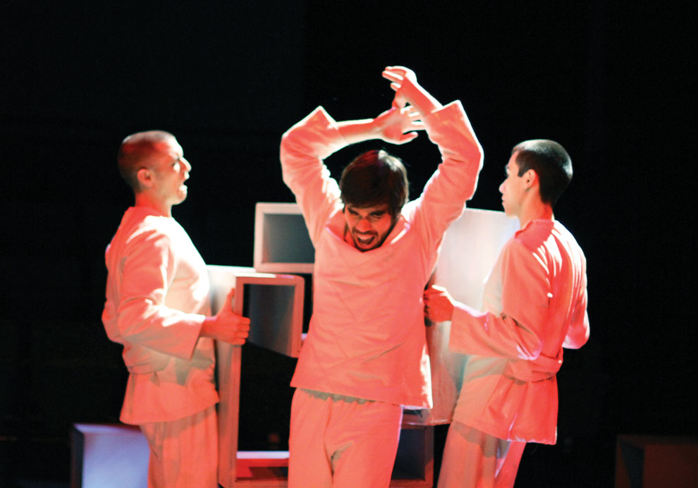A+dramatic+scene+from+%22Life+is+a+Dream%22+playing+through+Sunday+at+the+Experimental+Theatre+in+the+VPAC.+Illustration+by+Charlie+Kaijo