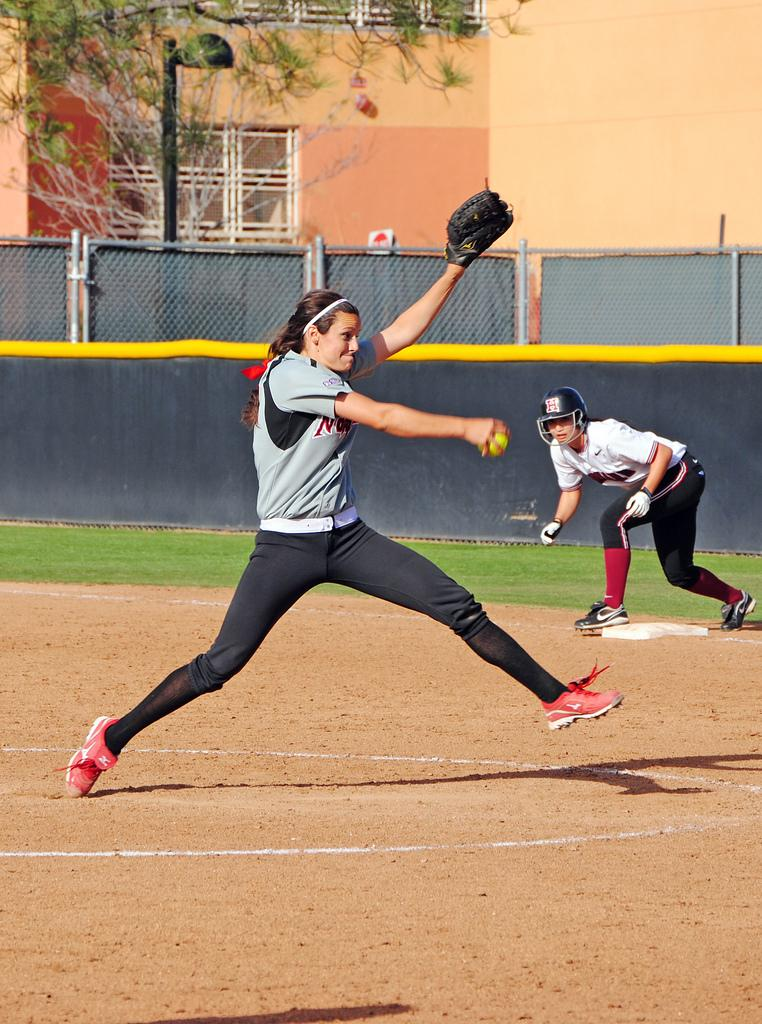 Matador pitcher Mia Pagano looks for a strike against Harvard Saturday afternoon. Pagano recorded three strikeouts, but her opening pitches allowed two runs for the Crimson. Photo Credit: Andres Aguila / Senior Photographer