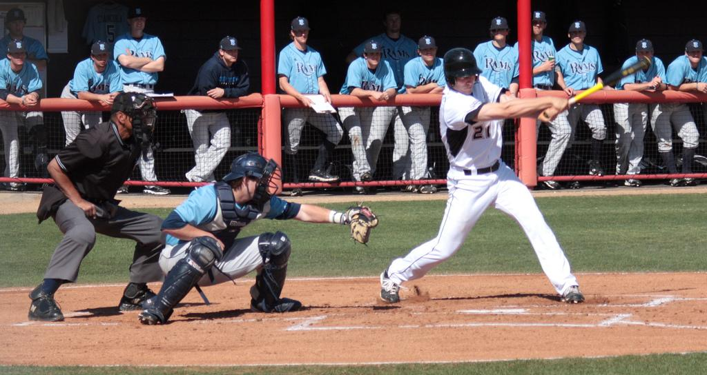 Outfielder, Todd Eskelin, tuns on a pitch. Eskelin hit a sacrifice fly to put the Matadors ahead early in the game. CSUN lost to Rhode Island 8 - 10 this Wednesday. Photo Credit: Ryan Walker / Contributor