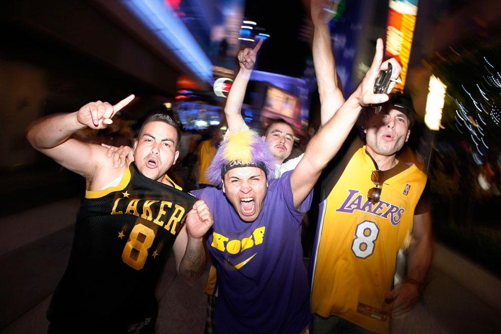 Fans celebrate the Lakers' championship win over the Boston Celtics outside Staples Center. From thinking that they can get superstar players for benchwarmers to dreams of winning more titles than the Celtics, Lakers fans never cease to amuse. Courtesy of MCT