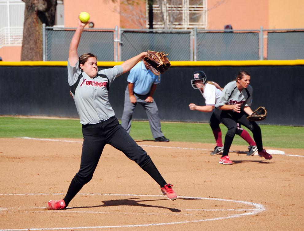 Pitcher Alexa Limon looks for the strike against Harvard on March 10. The Matadors host OSU in a doubleheader. Photo Credit: Andres Aguila / Daily Sundial