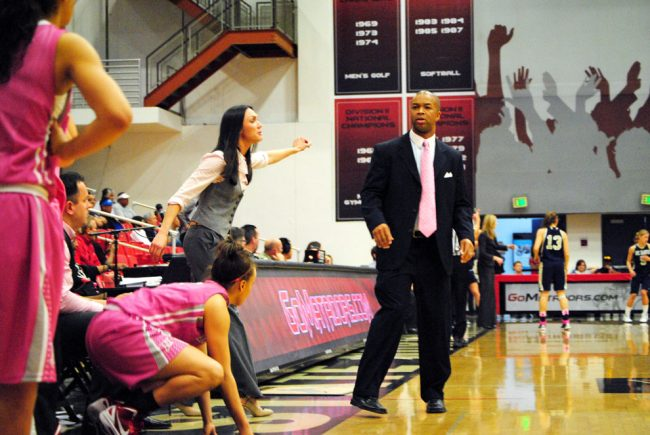 CSUN head coach Jason Flowers looks back at his bench during a game against UC Davis on Feb. 18. Following a four-win season in 2010-11, Flowers won 17 regular-season games in 2011-12. He was named Big West Coach of the Year Monday.