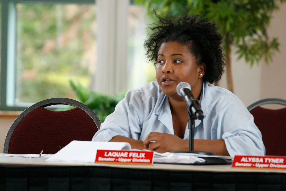 Student Body Senator Laquae Felix, 20, journalism major discusses the funding for black graduation committee on Tuesday at the Grand Salon. Felix said