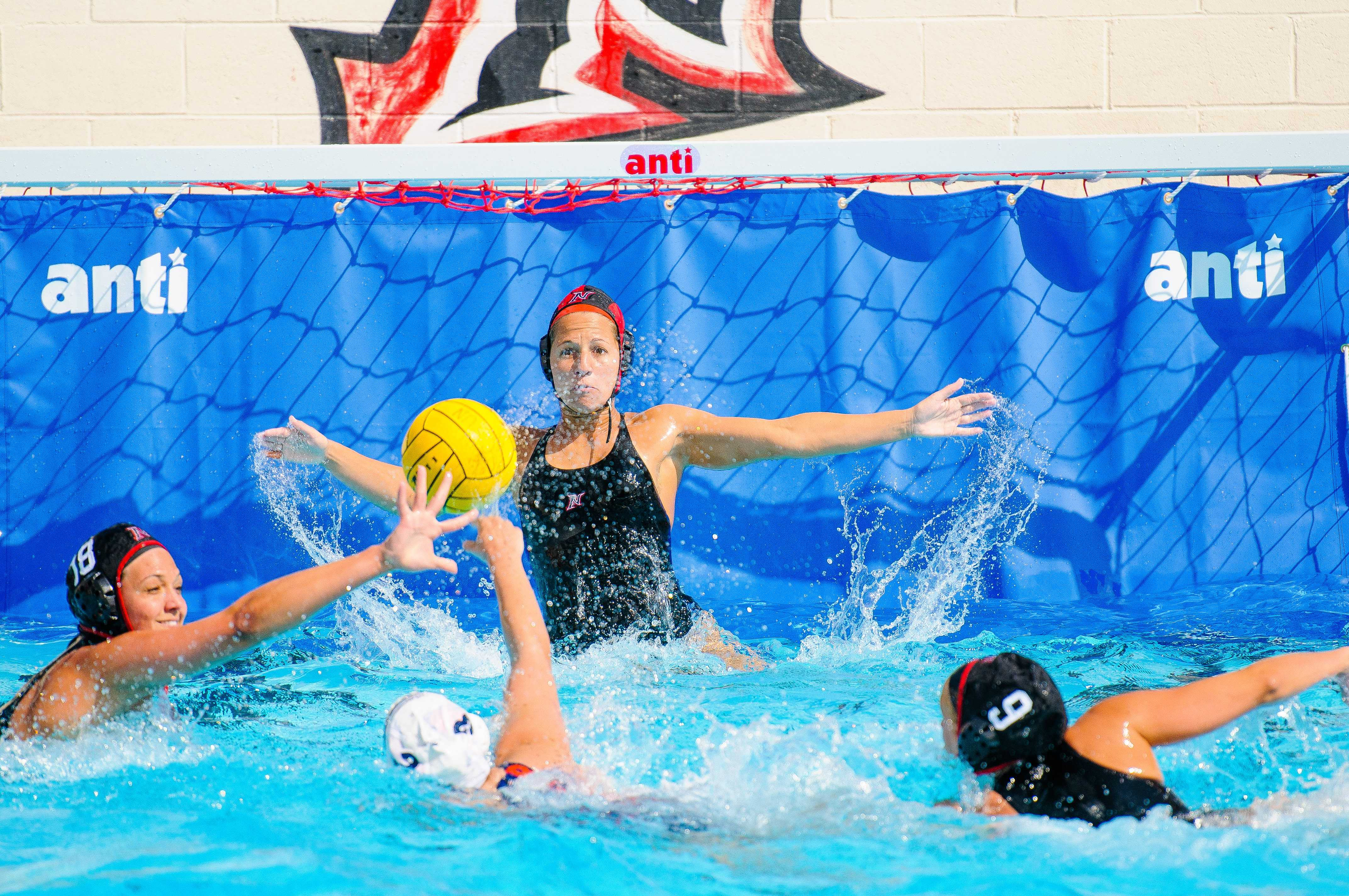 CSUN goalkeeper Dana Harvery protects her net during a game. Harvey only tallied four saves in the Matadors' loss to UC Irvine in the semi-finals of the Big West Conference Tournament Saturday afternoon.Courtesy of CSUN CSUN Athletics.