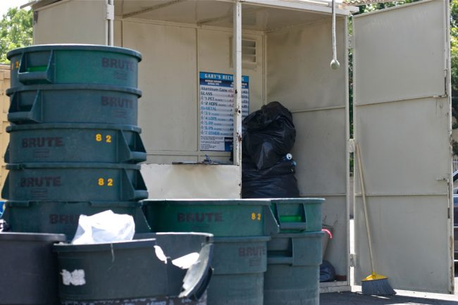 Gary's Recycling Center in Northridge will pay cash for all recyclable CRV beverage containers consisting of plastic, aluminum or glass. Customers may drive up and park near the waste bins to receive assistance in unloading their recyclables. Photo credit: Trisha Sprouse / Daily Sundial