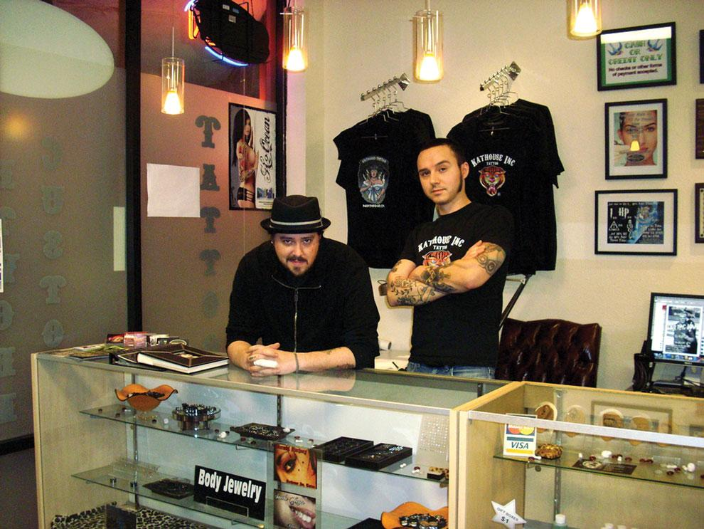 Piercer Kirk and tattoo artist Jason work at Kathouse Inc., a tattoo shop located on the corner of Lindley and Parthenia. Photo credit: Raewyn Smith / Daily Sundial