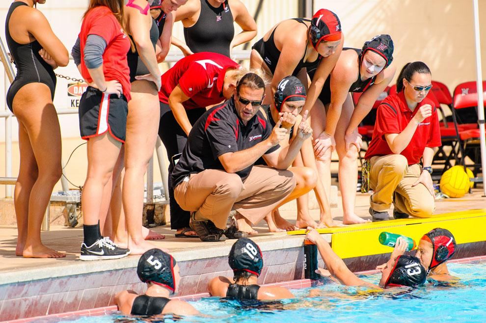 CSUN+head+coach+Dr.+Marcelo+Leonardi+talks+to+his+team+during+a+game.+Leonardi+and+his+team+finished+the+season+winning+third+place+in+the+Big+West+Conference+Tournament+Sunday+afternoon.+Courtesy+of+CSUN+Athletics.