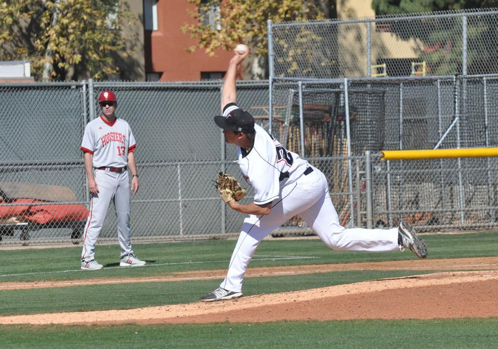 CSUN+pitcher+Vincent+Roberts+looks+for+a+strike+against+Indiana+on+March+9.+Roberts+and+the+Matadors+aim+to+build+some+momentum+as+they+host+Cal+State+Bakersfield+today+in+a+non-conference+meeting.+Photo+credit%3A+Mariela+Molina+%2F+Photo+editor