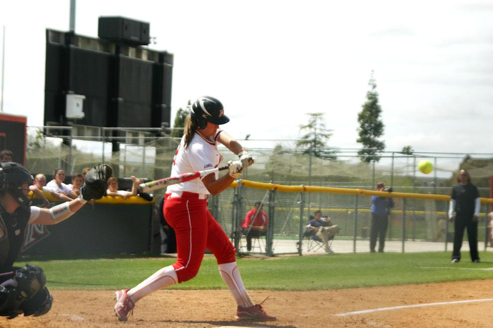 CSUN catcher Mikayla Thielges swings at a pitch during a game against Oregon State on March 28. Thielges and the Matadors take on UCLA on the road today. Photo Credit: Yoko Maegawa / Contributer