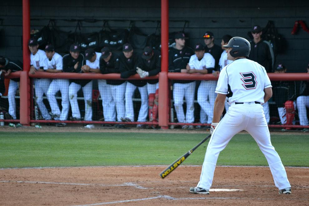 CSUN first baseman Cal Vogelsang gets ready for his at-bat during a game against Cal Poly on April 14 at Matador Field. The Matadors play Cal State Bakersfield for the second time this season today in non-conference action. Photo credit: Mariela Molina / Photo Editor